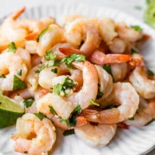 Cilantro lime shrimp served on a plate.
