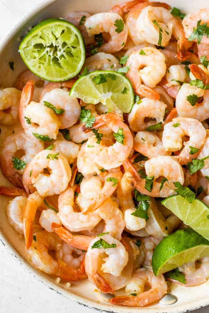 Cilantro lime shrimp in a skillet.