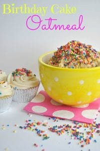 This cake batter oatmeal is so quick and easy to make.  Perfect for a birthday breakfast!! And every other morning too!  Recipe @  www.houseofyumm.com