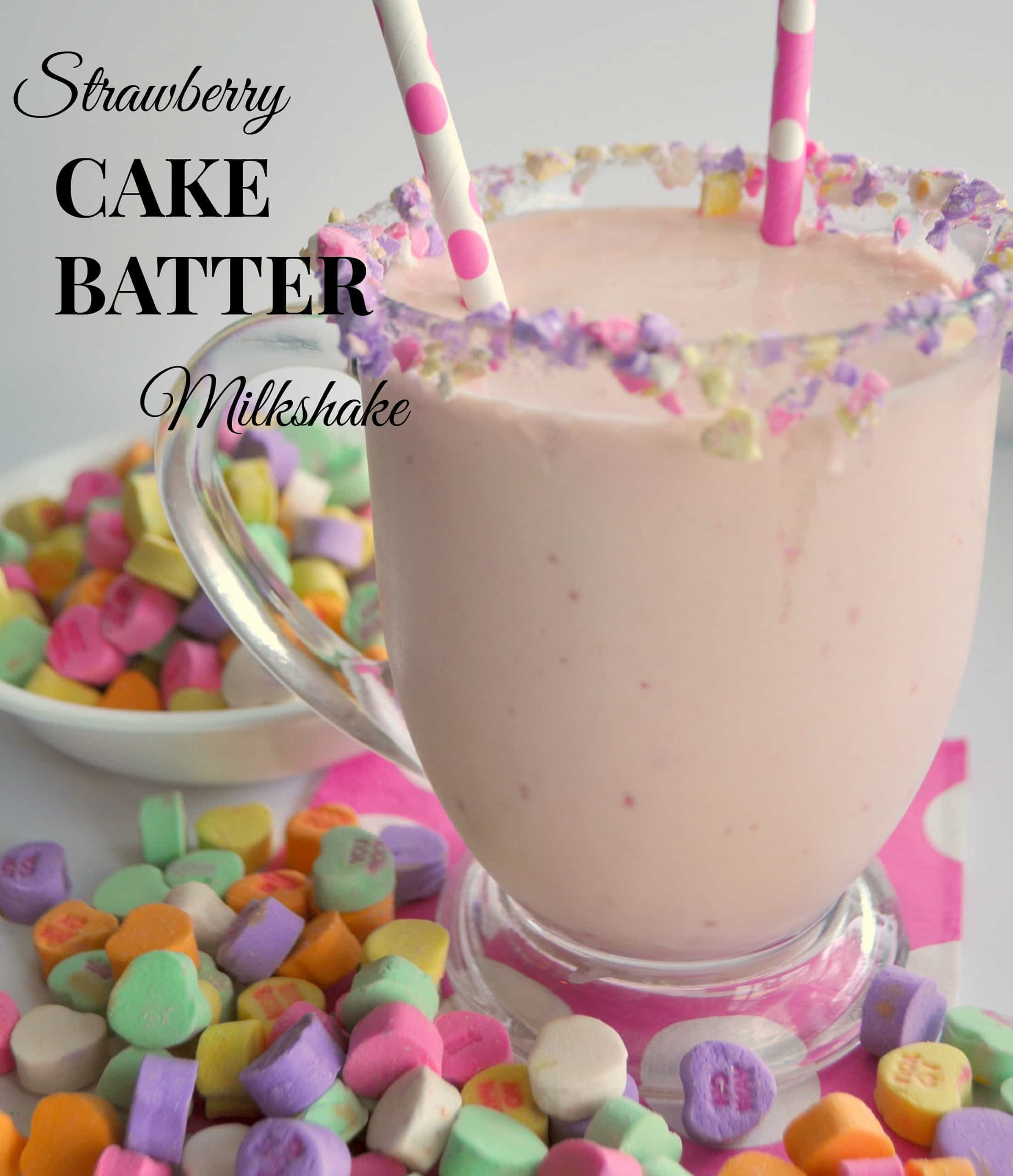 Strawberry Cake Batter Milkshake.  3 Simple Ingredients!!  {House of Yumm}
