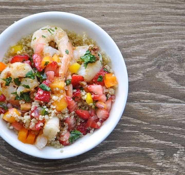 Quinoa Shrimp bowl with Honey Lime Dressing