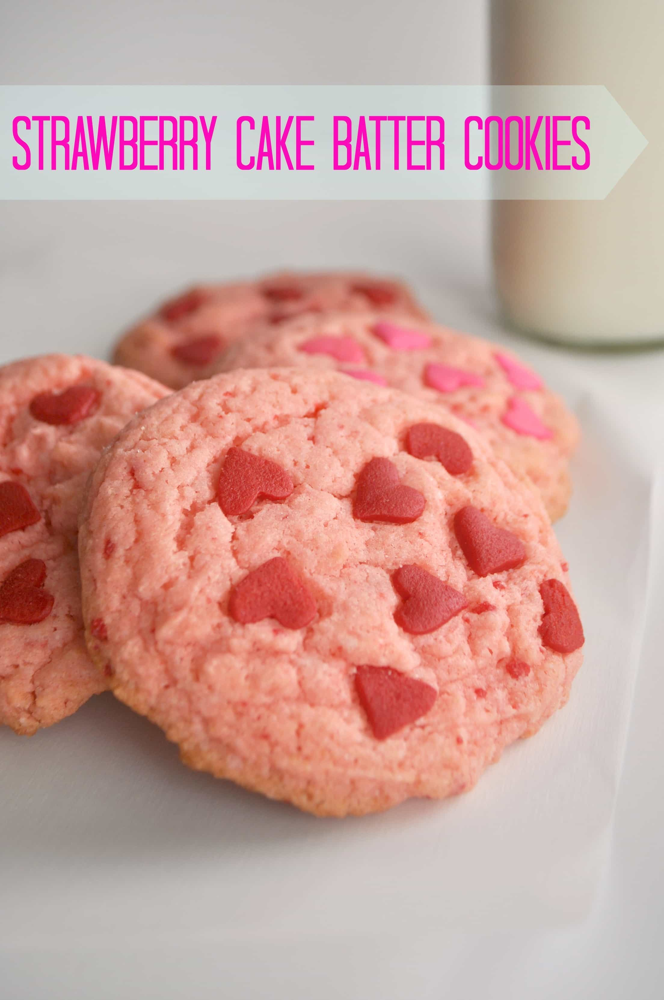 Strawberry Cake Mix Cookies. So tasty and super easy!! Decorate for a fun Valentine's Day treat |House of Yumm|