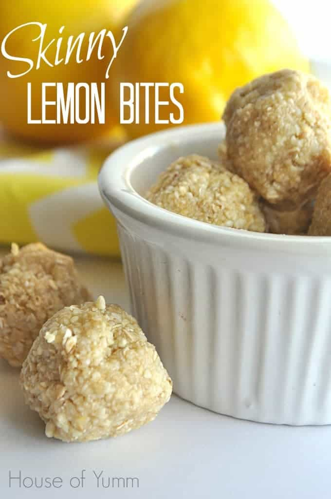 Bowl filled with skinny Lemon, no bake energy bites with text saying Skinny lemon bites in the upper left corner.
