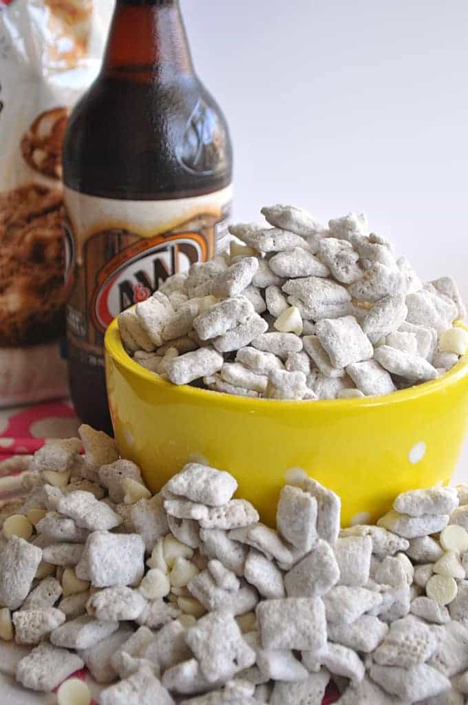 Muddy buddies that taste like a refreshing rootbeer float.