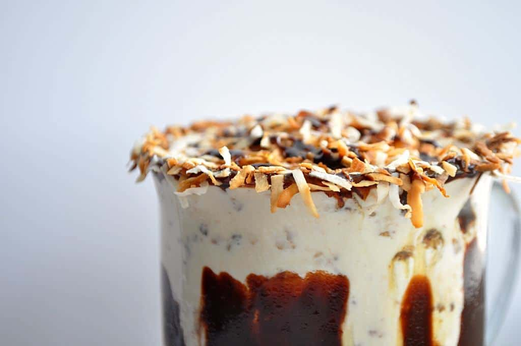 A thick creamy milkshake with crushed up samoa cookies, toasted coconut, sweet caramel and chocolate fudge sauce.
