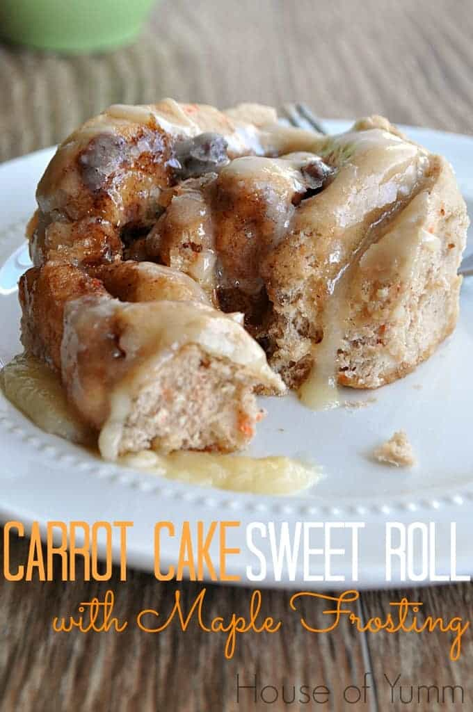 Carrot Cake Sweet Rolls topped with a decadent Maple Cream Cheese Frosting! YUM!! Best way to start the day :)
