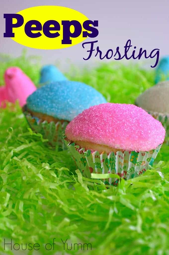 Peeps frosting on cupcakes with Peeps Frosting in text in the upper left corner.