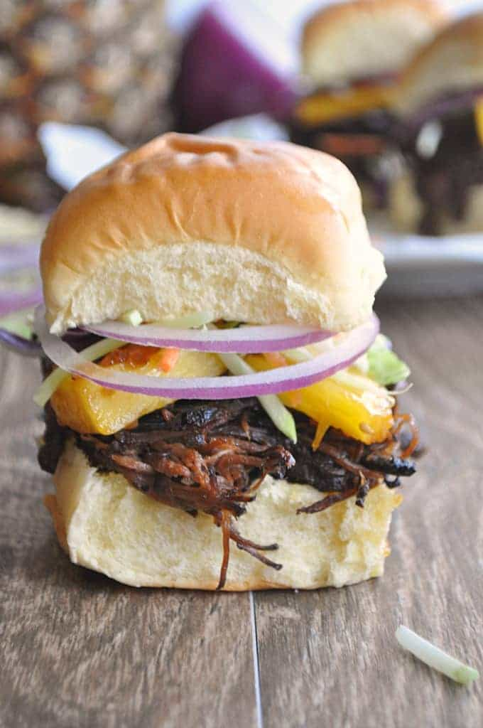 These sliders are overflowing with teriyaki beef and grilled pineapple