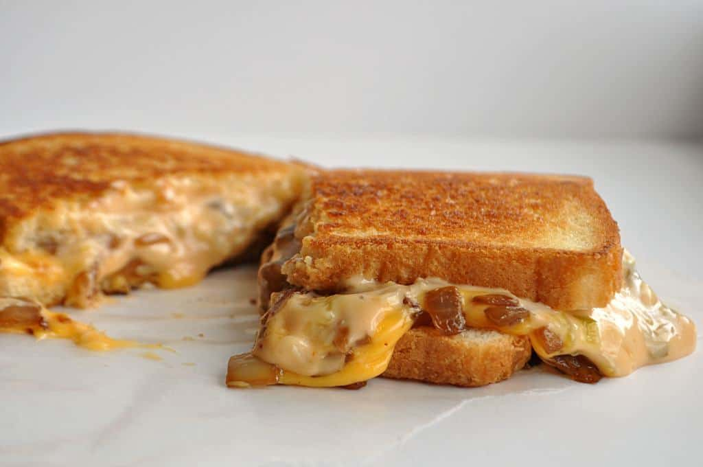 This classic grilled cheese has gone ANIMAL SYLE with grilled onions and a special sauce!