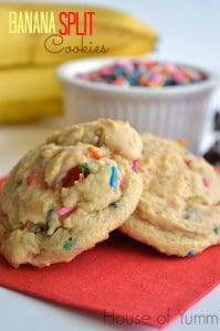 Banana split cookies. Banana pudding cookies loaded with chocolate chips, sprinkles, and maraschino cherries.