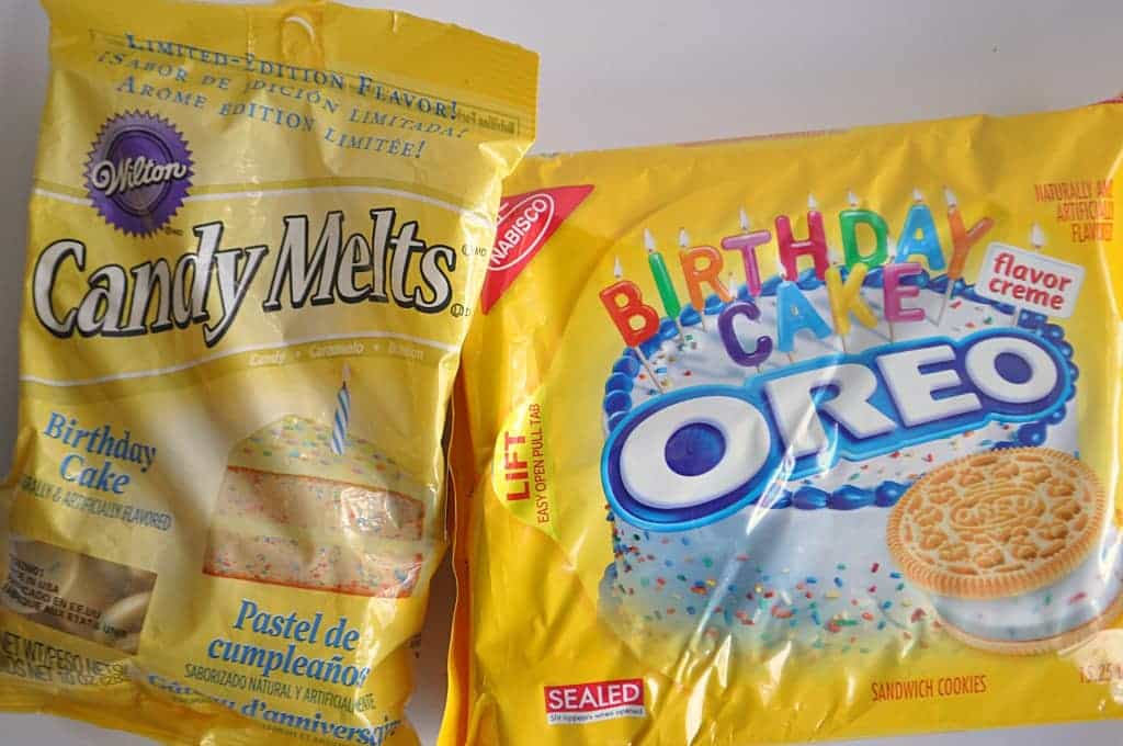 Ingredients laid out showing birthday cake Oreos and birthday cake candy melts.