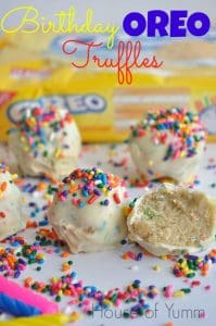 Three ingredients and no bake!  Birthday cake Oreo truffles!