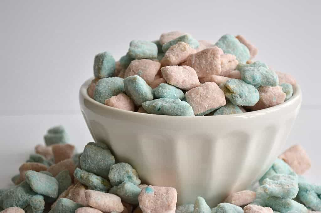 These muddy buddies are colorful and taste just like cotton candy!  A sure win!