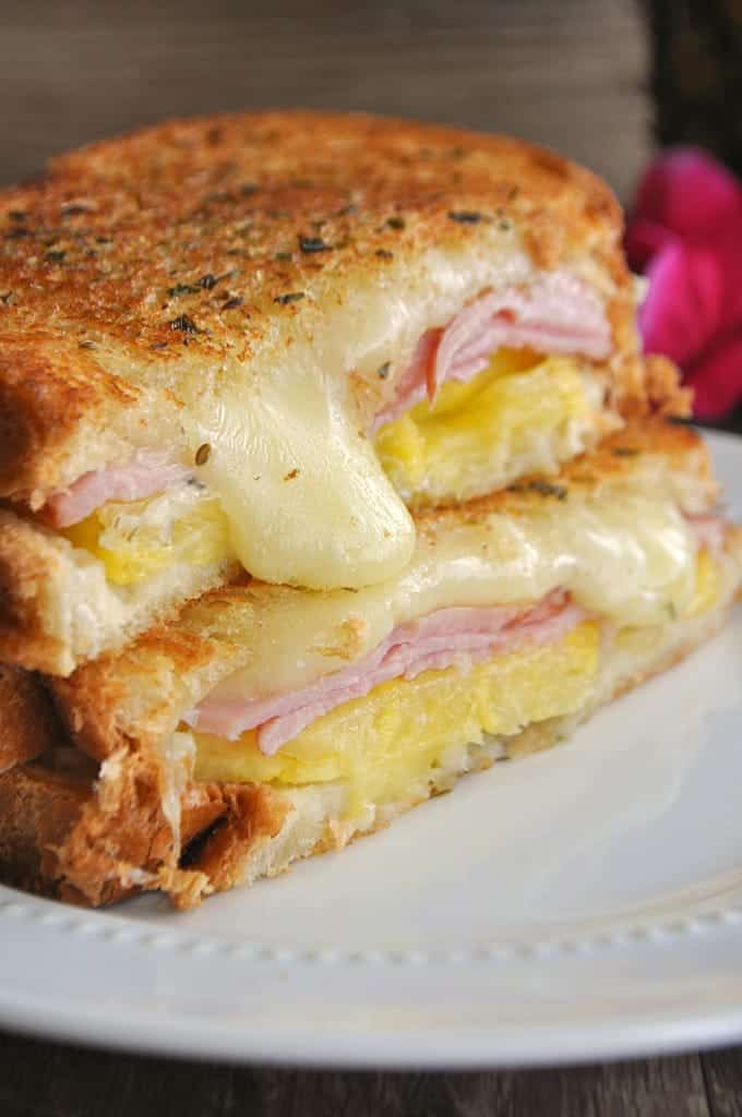 Stacked Hawaiian Grilled Cheese Sandwich cut in half.
