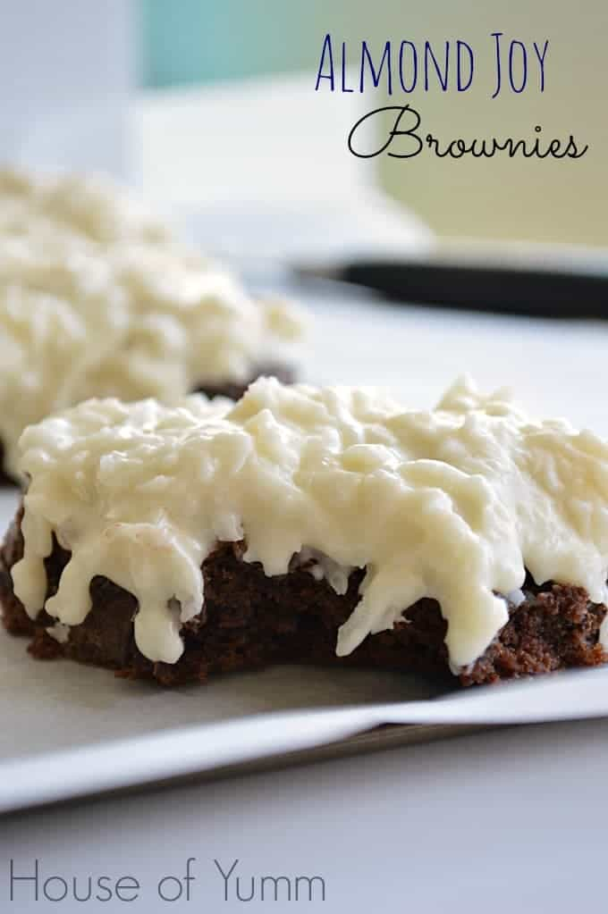 Double chocolatey brownies with a creamy coconut topping.  Tastes like an almond joy!