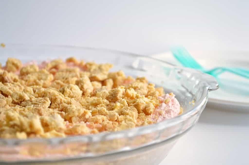 No bake Strawberry cheesecake with a lemon oreo crust