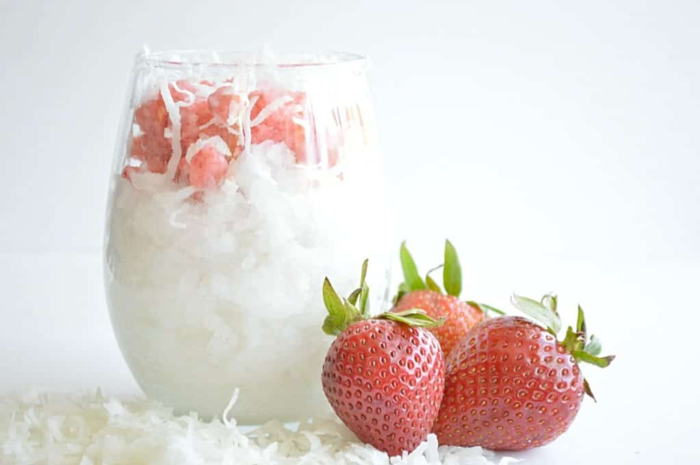 Strawberry & Coconut shaved ice. Made with real frozen fruit! So cold and refreshing!