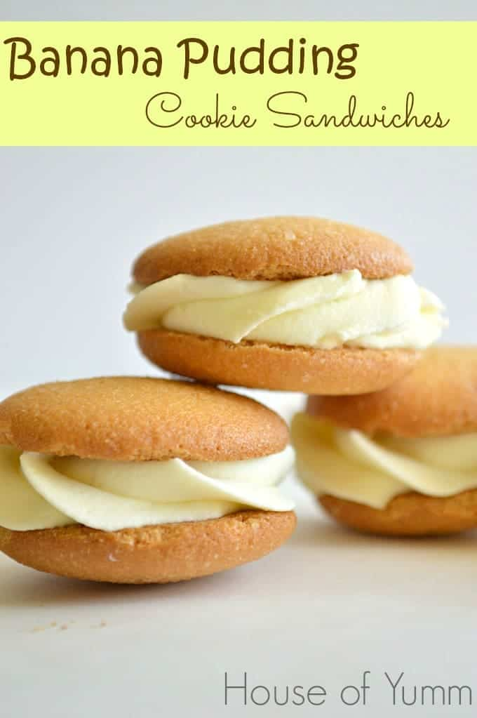 Banana Pudding Cookie Sandwiches.  A new version on a southern classic!  These Nilla Wafers are filled with a banana pudding mousse!  Quick, simple, and fun to eat!