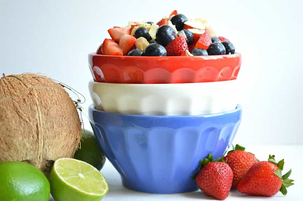 Red White & Blue Fruit Salad.  This patriotic fruit salad also has a refreshing coconut lime taste!  Perfect to take to that BBQ this weekend!