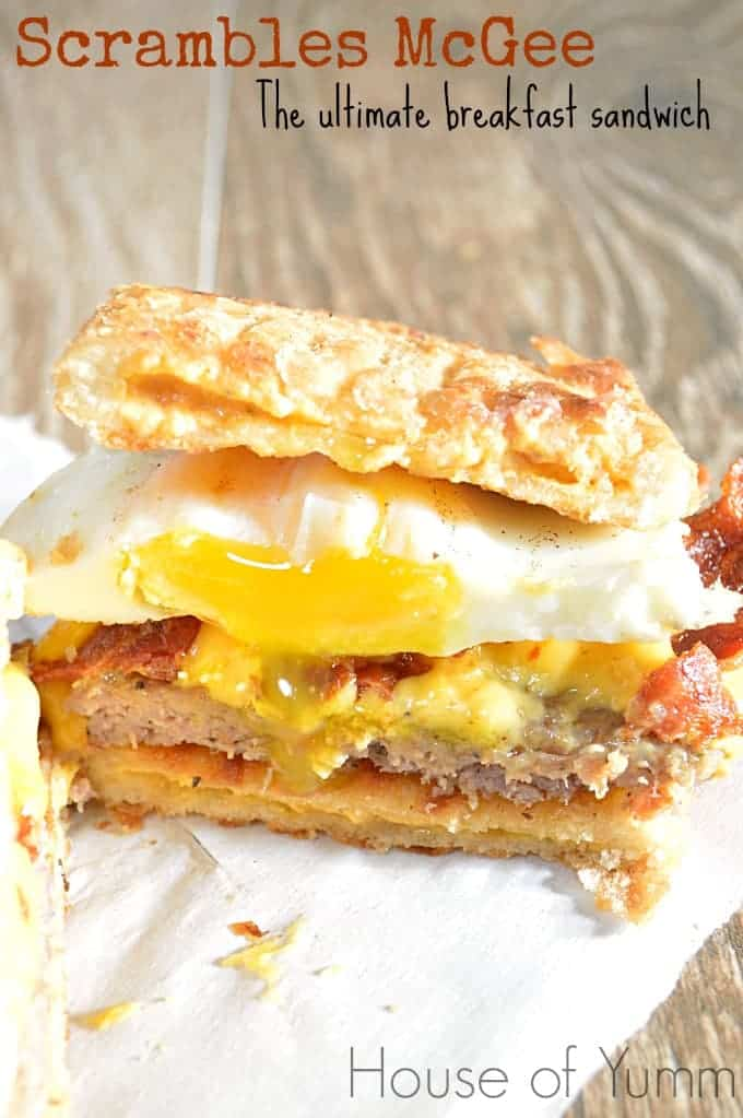 This ultimate breakfast sandwich is made with Pillsbury Toaster Scrambles, egg, bacon, sausage, and ooey gooey melty cheese