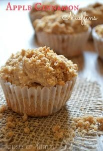 Apple cinnamon muffins with a strudel topping.