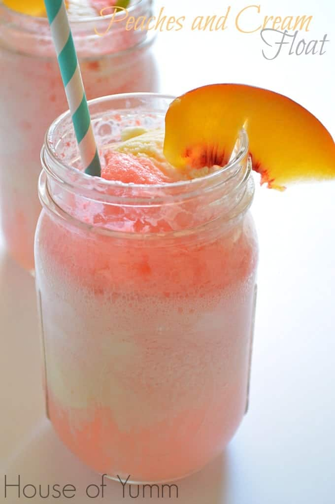Peaches and Cream Float!  Fizzy, cool, and refreshing!