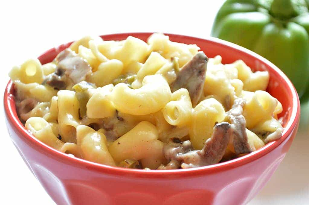 Philly Cheesesteak Mac and Cheese is the ultimate in comfort food