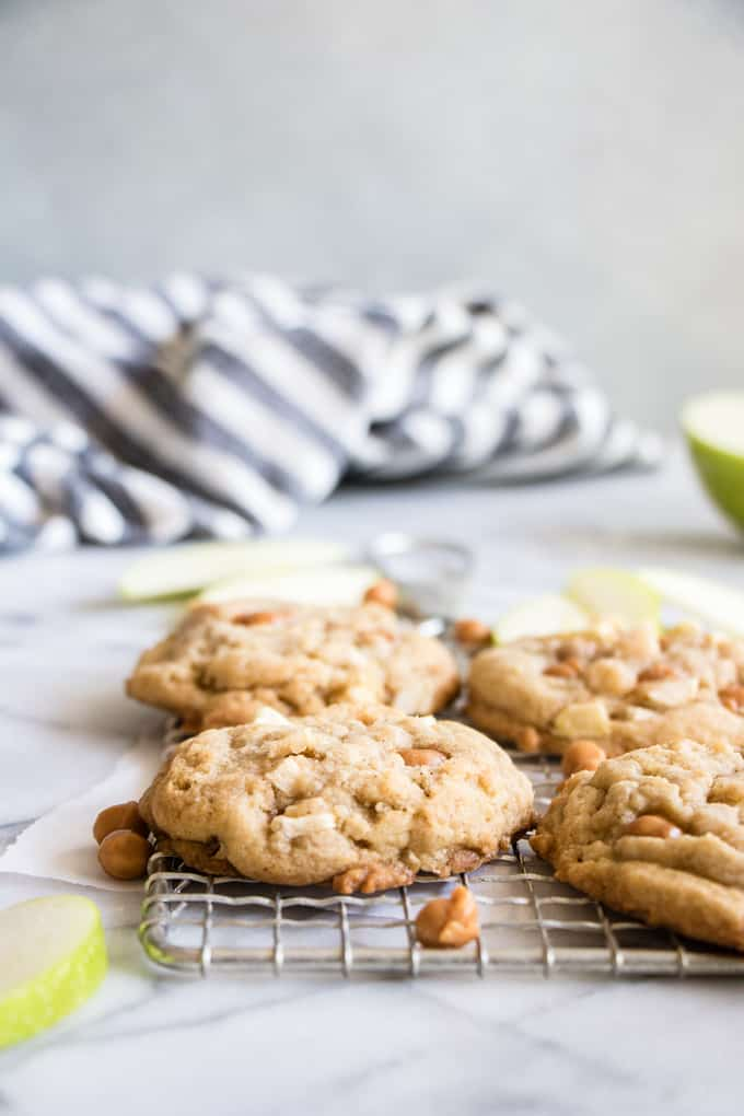 Caramel Apple Cookies cooling on a wire rack.