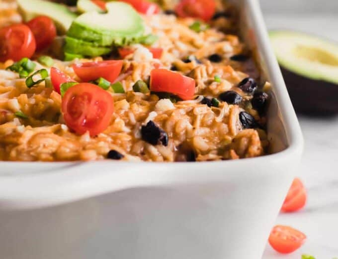 Chicken Enchilada Rice Casserole in a baking dish.