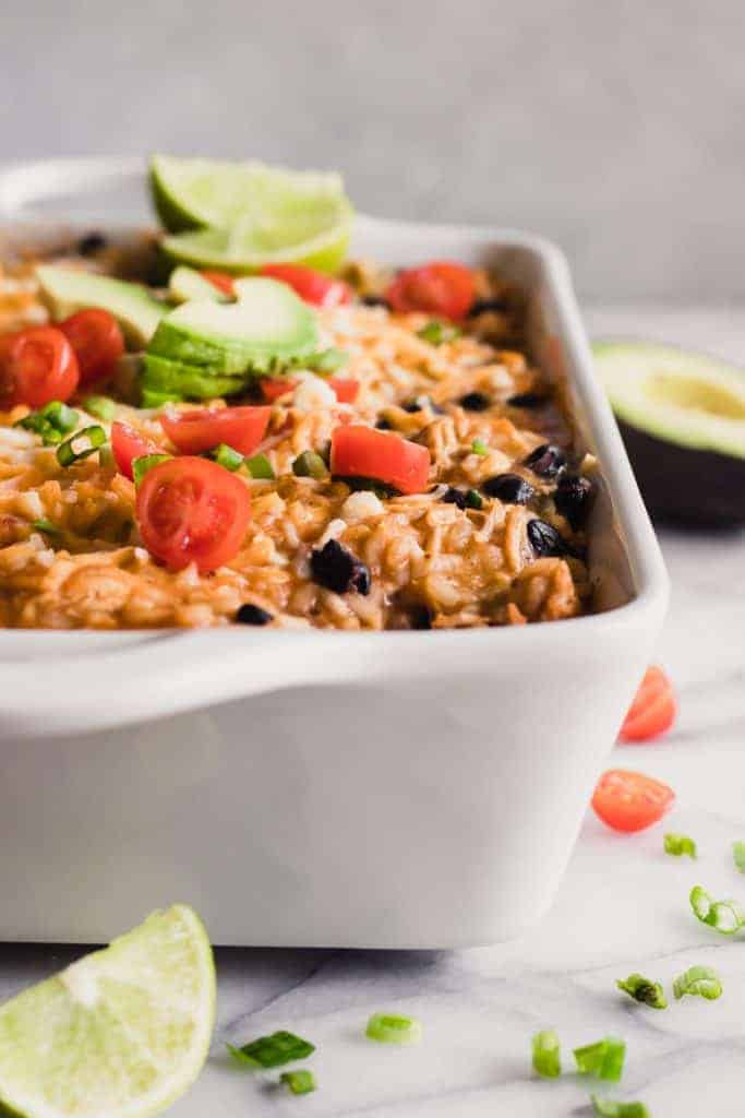 Chicken Enchilada Rice Casserole in a baking dish.