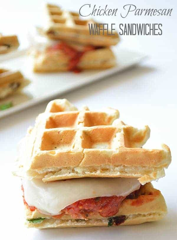 Tender breaded chicken smothered in marinara sauce and melted mozzarella sandwiched between two sundried tomato & basil waffles.  This is a quick and easy meal to throw together that will leave the family wanting it over and over again!