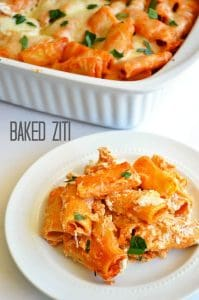 Baked Ziti. Extra cheesy comfort food. Perfect to serve at gatherings.