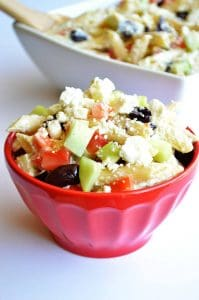 Greek Pasta Salad.  Pasta coated with a creamy cucumber dressing and loaded with fresh ingredients.  House of Yumm