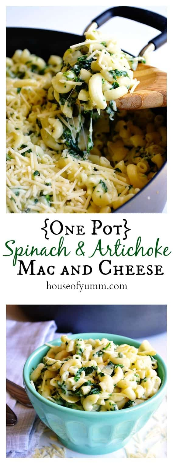 One Pot} Spinach & Artichoke Mac and Cheese. A one dish cheesy pasta ...