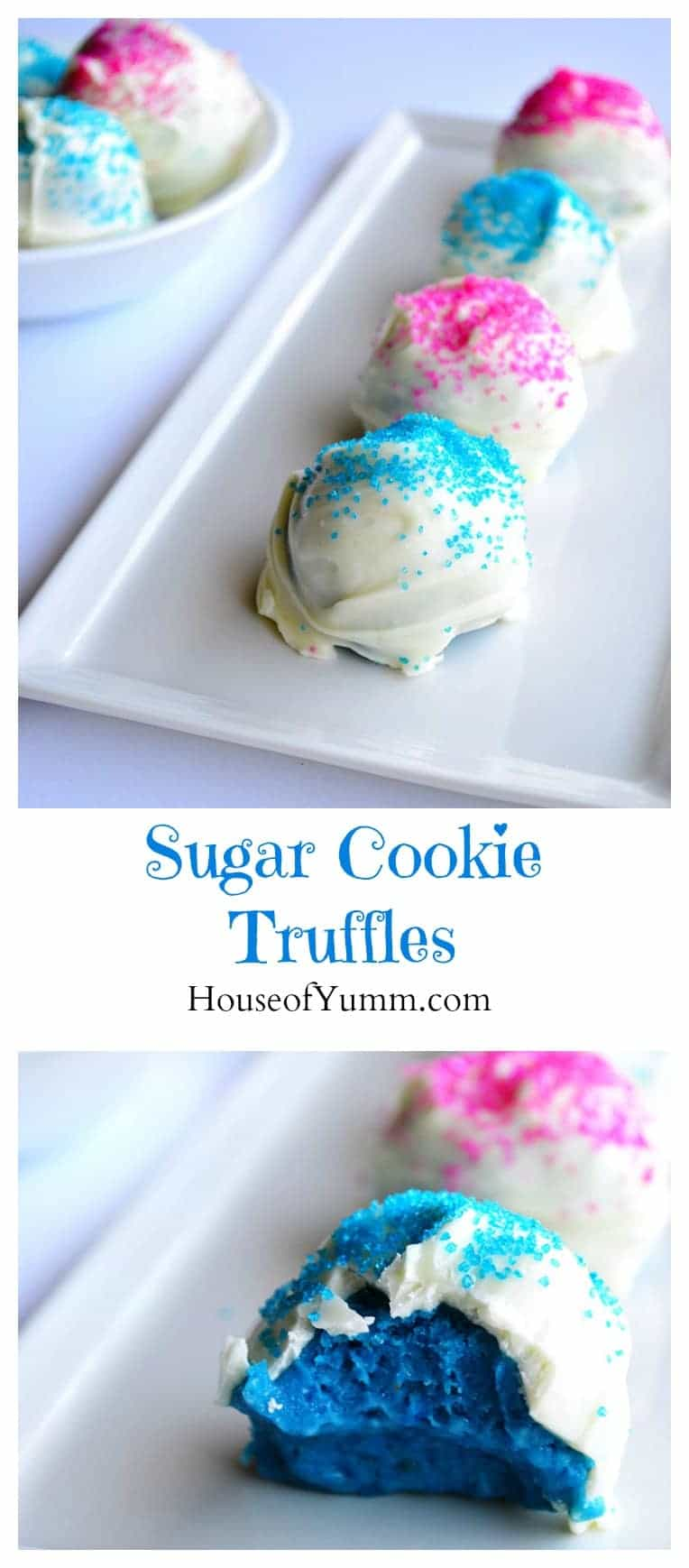 These Sugar Cookie Truffles are easy to make, delicious, and so fun to  decorate for any holiday or a fun gender reveal party!