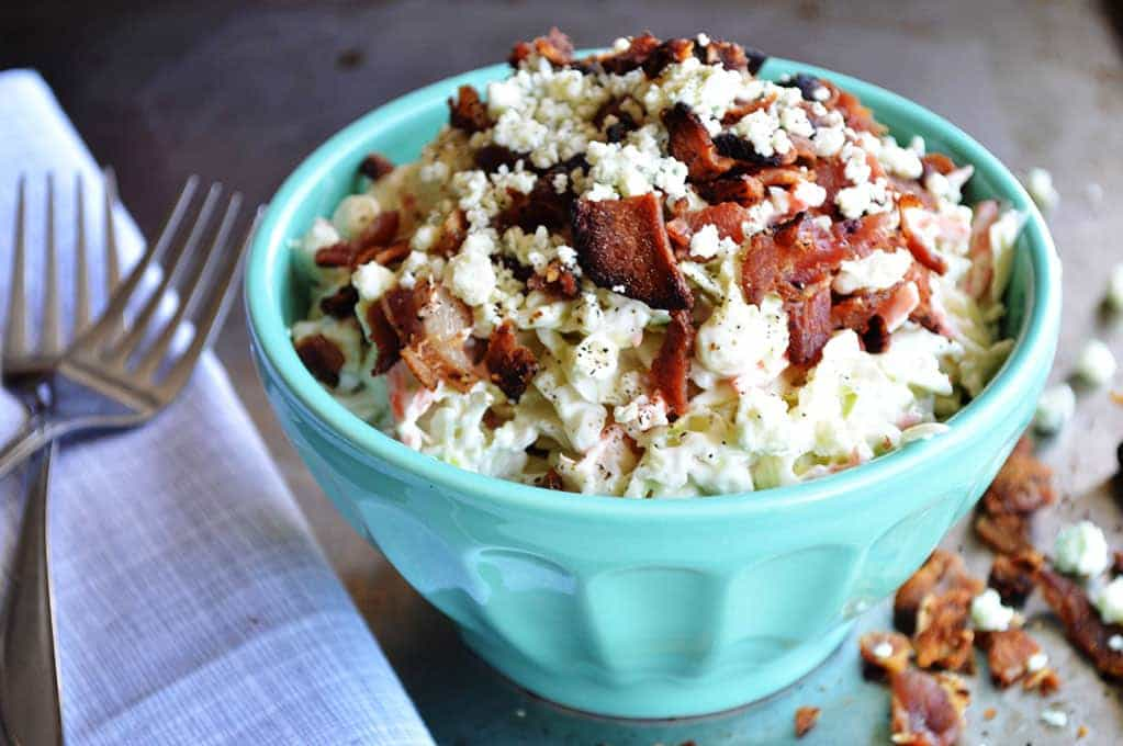 Blue Cheese Coleslaw {with bacon} - House of Yumm