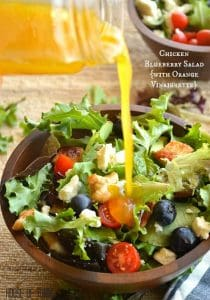 A fresh mix of lettuce, chicken, blueberries, tomato, avocado, and feta topped with a citrusy Orange Vinaigrette.