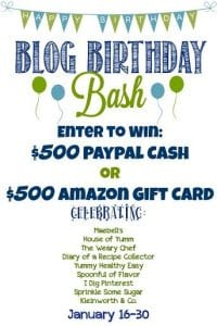 Blog Birthday Bash!  $500 paypal cash OR Amazon gift card!  Click to Enter!
