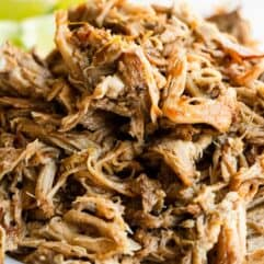 A pile of shredded pork carnitas.