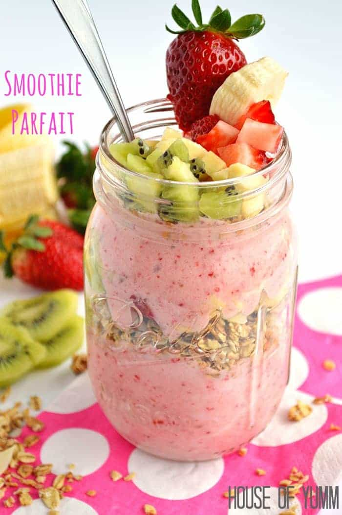 Smoothie Parfait.  Strawberry & Banana smoothie layered with granola and fresh fruit.