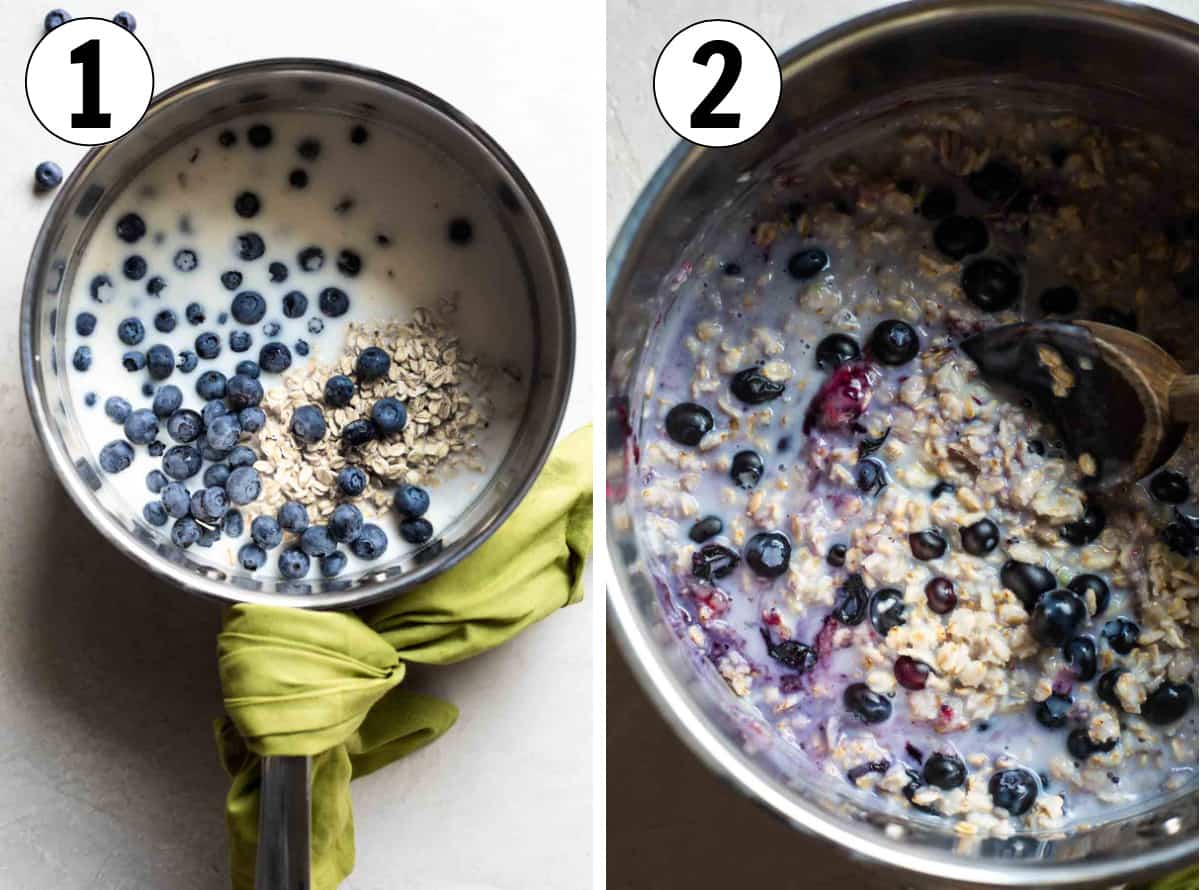 Step by step photos showing a saucepan filled with oats, milk and water with fresh blueberries, then the berries bursting in the oatmeal after cooking.