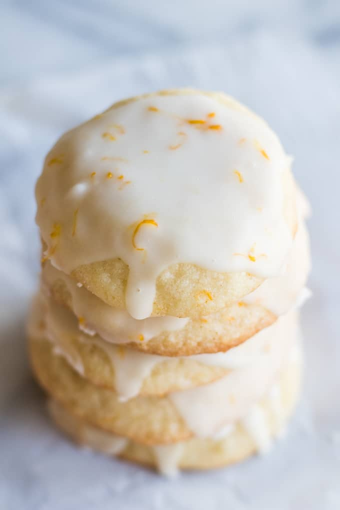 Soft lemon cookies covered with a lemon zest glaze.