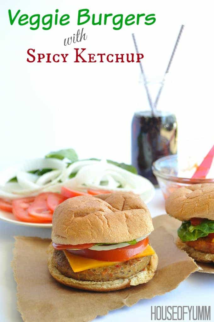 Veggie Burgers with a Spicy Ketchup.  Perfect family dinner!