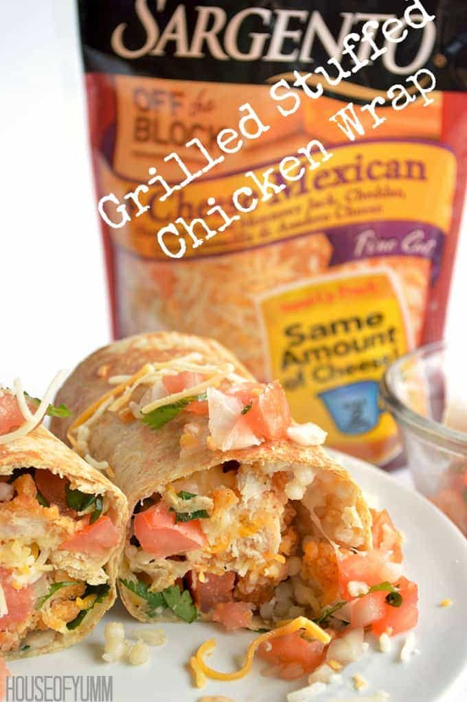 Grilled Stuffed Chicken Wrap!  Bursting with flavor and texture!  Perfect quick and easy family dinner.