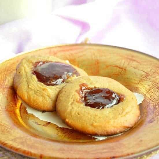 Flourless Peanut Butter and Jelly Cookies. Perfect Gluten Free, Protein Snack!