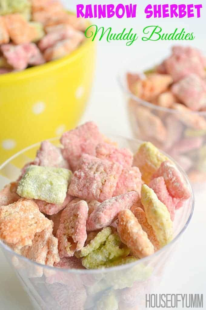 Rainbow Sherbet Muddy Buddies! This snack is a mixture of Raspberry, Orange, and Lime flavors. Perfect snack for kids and adults!