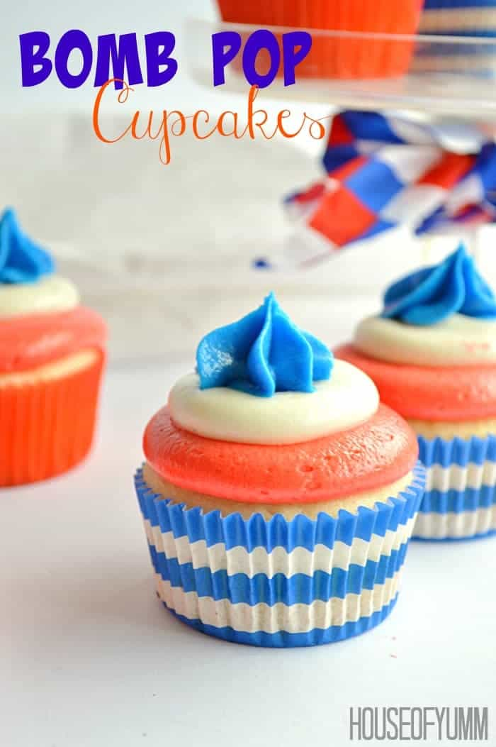 Bomb Pop Cupcakes! Made with all the flavors of the classic popsicle! Blue Raspberry, White Lemon, and Cherry!