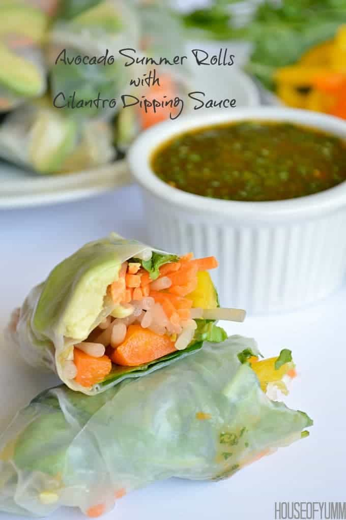 Avocado Summer Rolls served with a Sweet 'N Spicy Cilantro Dipping Sauce.