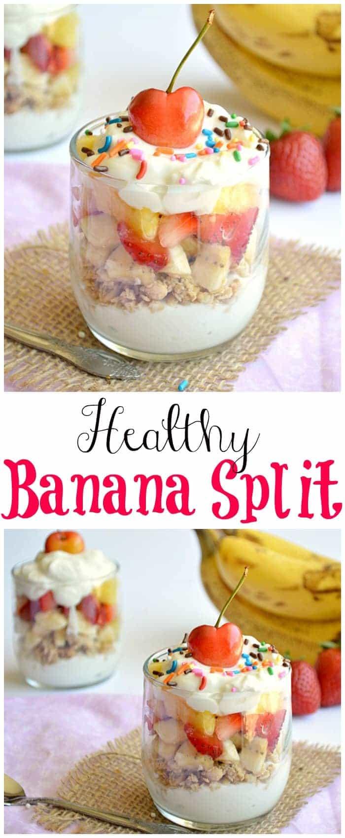 A healthy banana split parfait!  Enjoy this skinny version of dessert for breakfast or dessert!