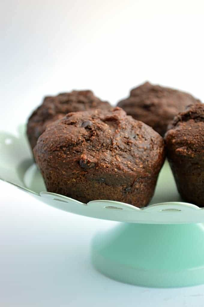 Skinny Chocolate Muffins.  Made with Whole Wheat Flour, egg free, oil free, no refined sugars.  Tastes like a fudgy brownie!